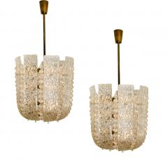 J T Kalmar Pair of J T Kalmar Glass and Brass Basket Chandeliers Austria 1950 - 1195047