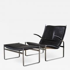 J rgen Kastholm Preben Fabricius FABRICIUS AND KASTHOLM LOUNGE CHAIR AND OTTOMAN - 1195149