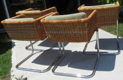J rgen Kastholm Preben Fabricius Set of 4 Chrome and Wicker Chairs by Fabricius Kastholm - 361297
