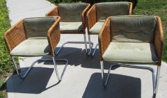 J rgen Kastholm Preben Fabricius Set of 4 Chrome and Wicker Chairs by Fabricius Kastholm - 361299