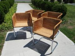 J rgen Kastholm Preben Fabricius Set of 4 Chrome and Wicker Chairs by Fabricius Kastholm - 361300
