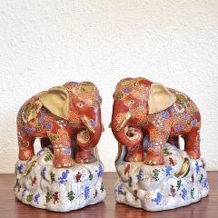 JAPANESE KUTANI SATSUMA MORIAGE ELEPHANT BOOKENDS - 2123953