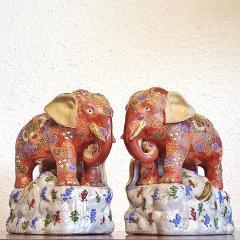 JAPANESE KUTANI SATSUMA MORIAGE ELEPHANT BOOKENDS - 2123954