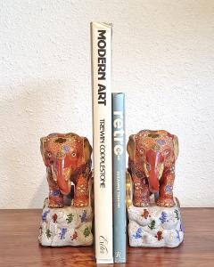 JAPANESE KUTANI SATSUMA MORIAGE ELEPHANT BOOKENDS - 2123956