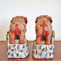 JAPANESE KUTANI SATSUMA MORIAGE ELEPHANT BOOKENDS - 2123958