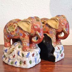 JAPANESE KUTANI SATSUMA MORIAGE ELEPHANT BOOKENDS - 2123960