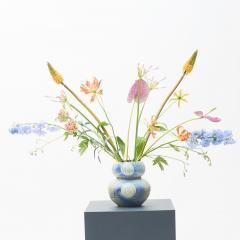 JAPANESE RAKU BLUE AND GREY CERAMIC VASE - 1536220
