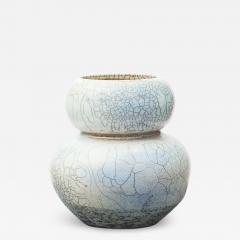 JAPANESE RAKU BLUE AND GREY CERAMIC VASE - 1537409