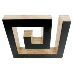 JOSECHO L PEZ LLORENS Josecho L pez Llorens Geometric Black Lacquered Pine Wood Spiral 11008 Sculpture - 927750