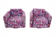 Jack Lenor Larsen 1970 s Swivel Chairs in Jack Lenor Larsen velvet - 1622805