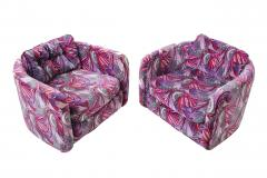 Jack Lenor Larsen 1970 s Swivel Chairs in Jack Lenor Larsen velvet - 1622806