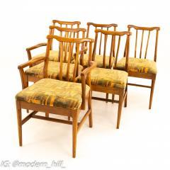 Jack Lenor Larsen Style Mid Century Walnut Dining Chairs Set of 6 - 1869941