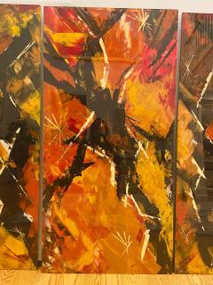 Jackson Pollock Art Deco Enamel Wall Glass Art in the Manner of Jackson Pollock - 1730099