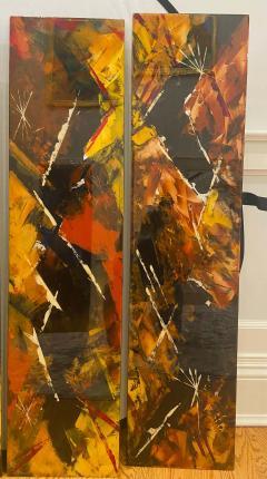 Jackson Pollock Art Deco Enamel Wall Glass Art in the Manner of Jackson Pollock - 1730102