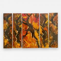 Jackson Pollock Art Deco Enamel Wall Glass Art in the Manner of Jackson Pollock - 1731542