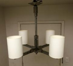 Jacques Adnet 1930s Four Arm Modernist Nickeled Bronze Chandelier - 1878971