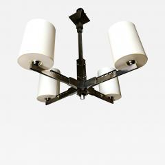 Jacques Adnet 1930s Four Arm Modernist Nickeled Bronze Chandelier - 1880612