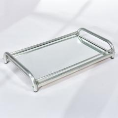 Jacques Adnet 1950s Italian chrome and mirror tray - 1272539
