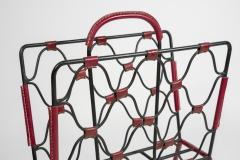 Jacques Adnet 1950s Stitched Leather magazine rack by Jacques Adnet - 1671622