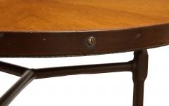 Jacques Adnet A Rare Pair of Chocolate Brown Leather Tables by Jacques Adnet - 856359