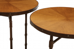 Jacques Adnet A Rare Pair of Chocolate Brown Leather Tables by Jacques Adnet - 856370