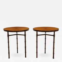 Jacques Adnet A Rare Pair of Chocolate Brown Leather Tables by Jacques Adnet - 858859