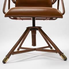 Jacques Adnet A midcentury cognac leather swivel chair - 1222287