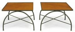 Jacques Adnet Black Lacquered Wrought Iron and Leather X Base End Tables after Jacques Adnet - 279465
