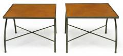 Jacques Adnet Black Lacquered Wrought Iron and Leather X Base End Tables after Jacques Adnet - 279466