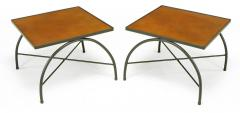 Jacques Adnet Black Lacquered Wrought Iron and Leather X Base End Tables after Jacques Adnet - 279467