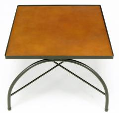 Jacques Adnet Black Lacquered Wrought Iron and Leather X Base End Tables after Jacques Adnet - 279469