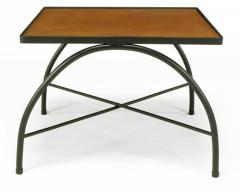 Jacques Adnet Black Lacquered Wrought Iron and Leather X Base End Tables after Jacques Adnet - 279470