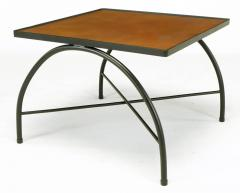 Jacques Adnet Black Lacquered Wrought Iron and Leather X Base End Tables after Jacques Adnet - 279471