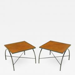 Jacques Adnet Black Lacquered Wrought Iron and Leather X Base End Tables after Jacques Adnet - 321084