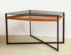 Jacques Adnet CURVED FRUITWOOD CENTER TABLE WITH GLASS TOP BY ADNET - 1780834