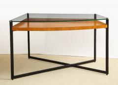 Jacques Adnet CURVED FRUITWOOD CENTER TABLE WITH GLASS TOP BY ADNET - 1780835