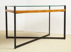 Jacques Adnet CURVED FRUITWOOD CENTER TABLE WITH GLASS TOP BY ADNET - 1780839