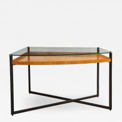 Jacques Adnet CURVED FRUITWOOD CENTER TABLE WITH GLASS TOP BY ADNET - 1783061