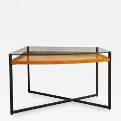 Jacques Adnet Curved Fruitwood Center Table with Glass Top - 1117356