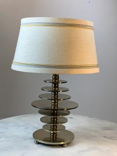 Jacques Adnet FRENCH MODERNIST ART DECO NICKELED BRONZE DISC LAMP - 1163828