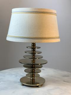 Jacques Adnet FRENCH MODERNIST ART DECO NICKELED BRONZE DISC LAMP - 1163830