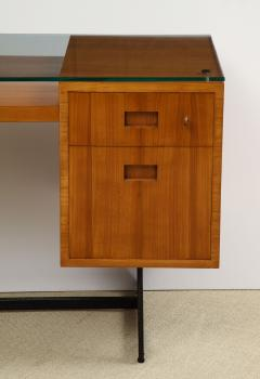 Jacques Adnet FRUITWOOD DESK WITH GLASS TOP BY ADNET - 1844936