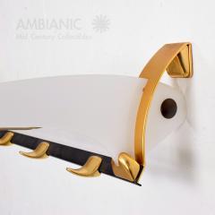Jacques Adnet Fancy European Brass Coat Hat Rack Wall Shelf Style Jacques Adnet Modern 1960s - 1640388