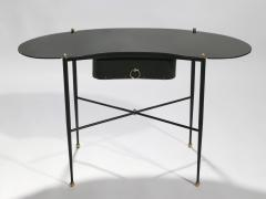 Jacques Adnet French Jacques Adnet leather desk vanity with stool 1940s - 993146
