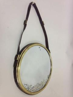Jacques Adnet French Mid Century Modern Neoclassical Leather Wrapped Mirror Jacques Adnet - 1844422