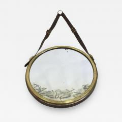 Jacques Adnet French Mid Century Modern Neoclassical Leather Wrapped Mirror Jacques Adnet - 1845813