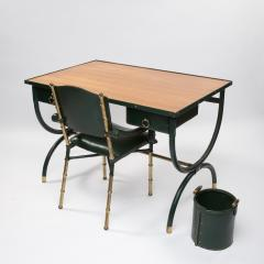 Jacques Adnet French Mid Century desk with armchair and waste paper basket by Jacques Adnet - 1242791
