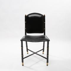 Jacques Adnet French Midcentury Set of 6 chairs In Black Stitched Leather by Jacques Adnet - 1252160