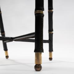 Jacques Adnet French Midcentury Set of 6 chairs In Black Stitched Leather by Jacques Adnet - 1252165