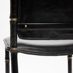 Jacques Adnet French Midcentury Set of 6 chairs In Black Stitched Leather by Jacques Adnet - 1252168